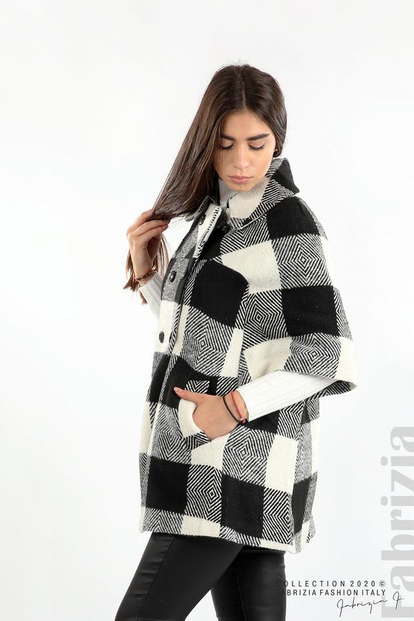 Палто с двуредно закопчаване и 3/4 ръкави черен/екрю 5 fabrizia