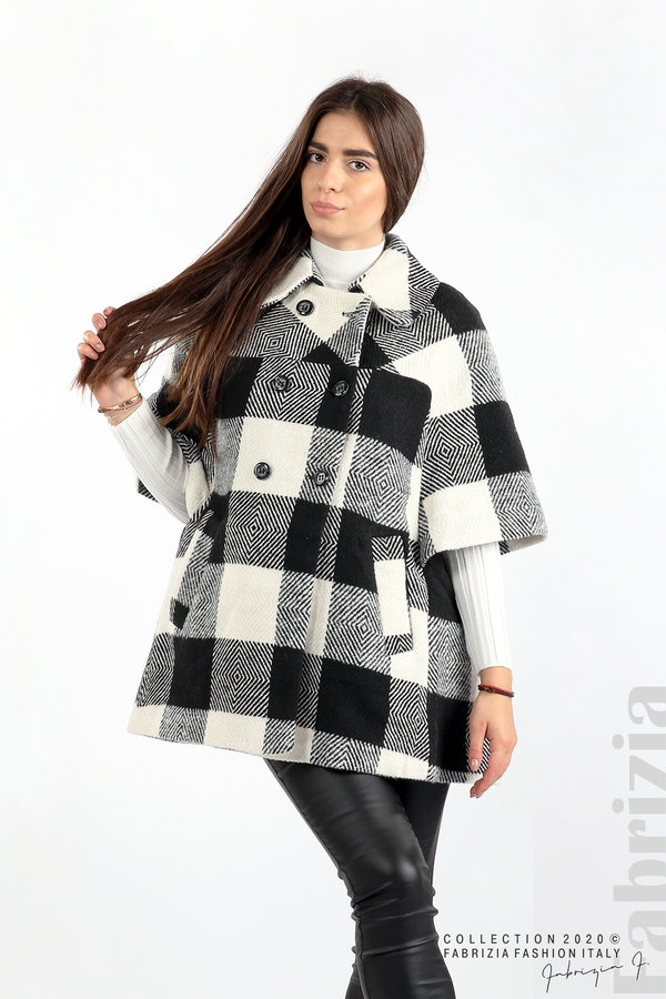 Палто с двуредно закопчаване и 3/4 ръкави черен/екрю 1 fabrizia