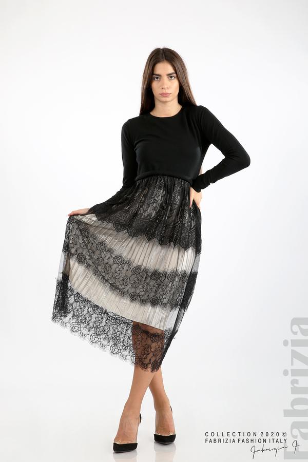 Дълга рокля фино плетиво и дантела черен 1 fabrizia