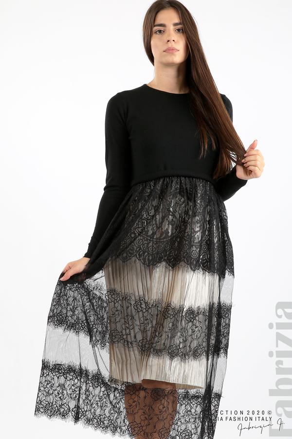 Дълга рокля фино плетиво и дантела черен 2 fabrizia