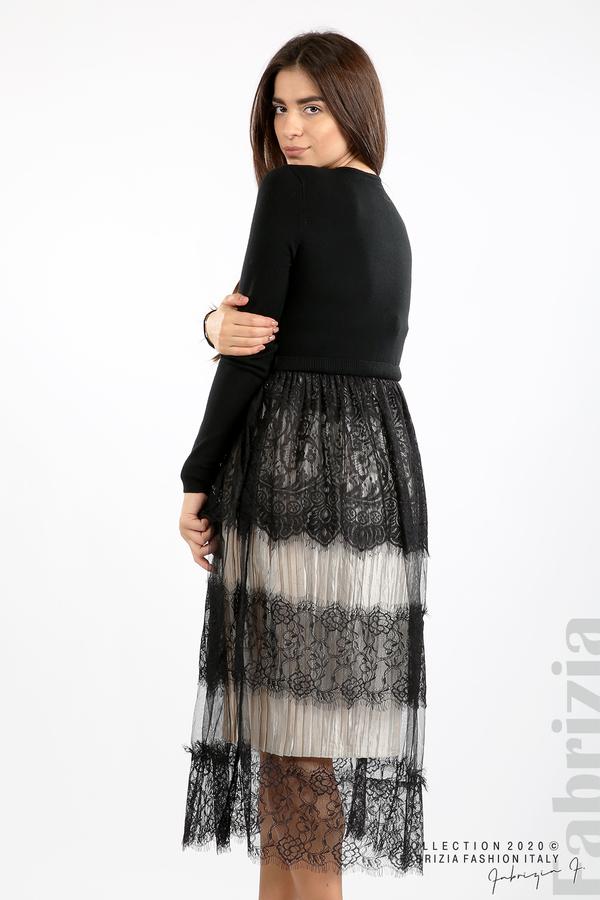 Дълга рокля фино плетиво и дантела черен 6 fabrizia