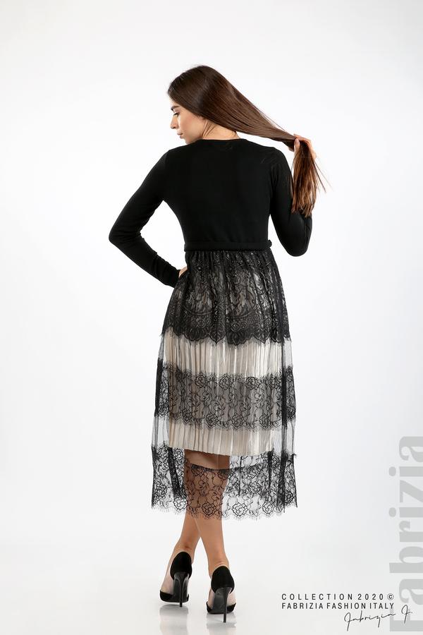 Дълга рокля фино плетиво и дантела черен 7 fabrizia