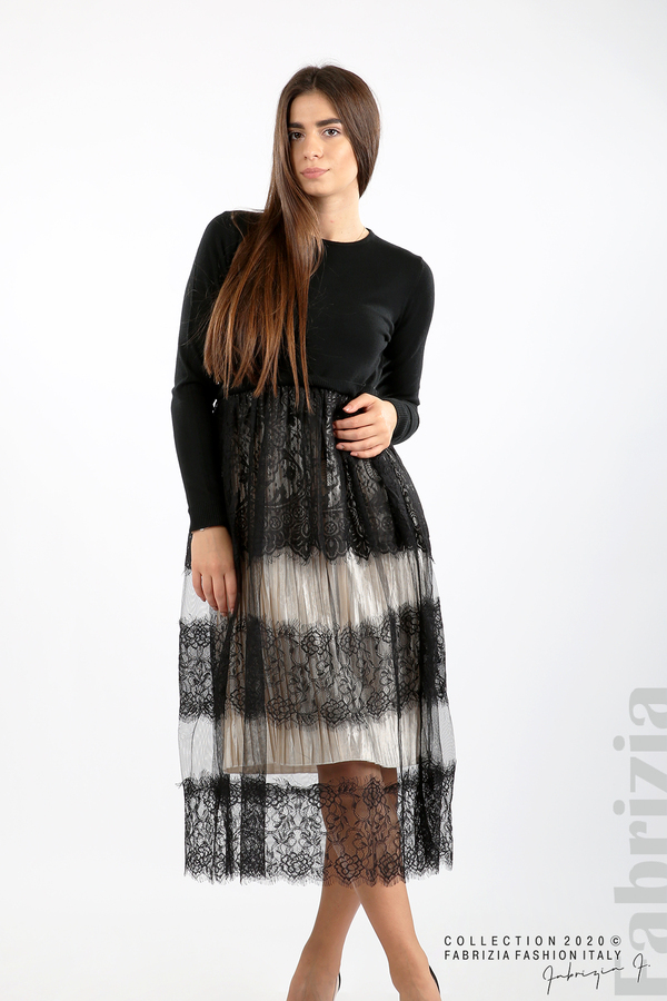 Дълга рокля фино плетиво и дантела черен 5 fabrizia