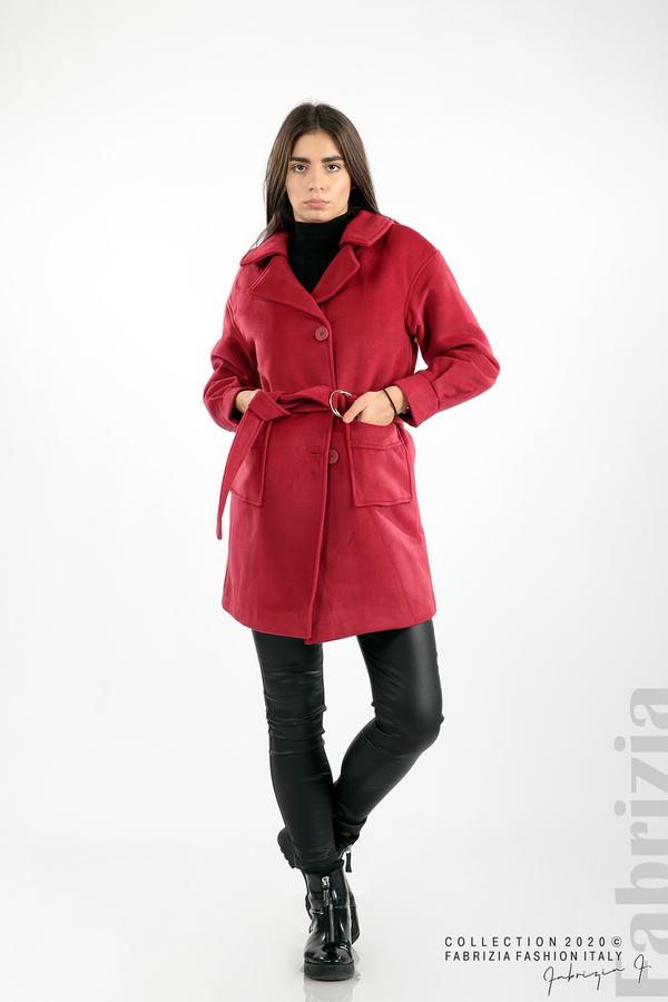 Късо палто с големи джобове и колан малина 2 fabrizia