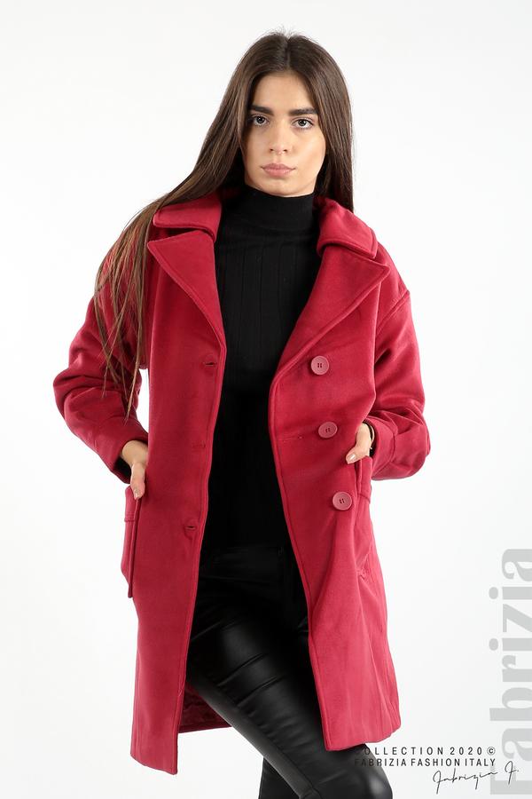 Късо палто с големи джобове и колан малина 1 fabrizia