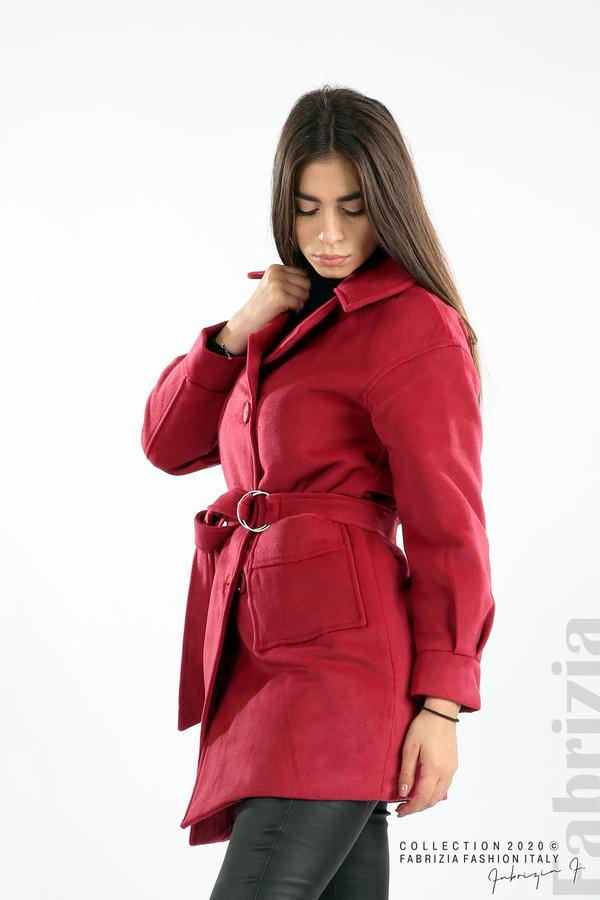 Късо палто с големи джобове и колан малина 3 fabrizia