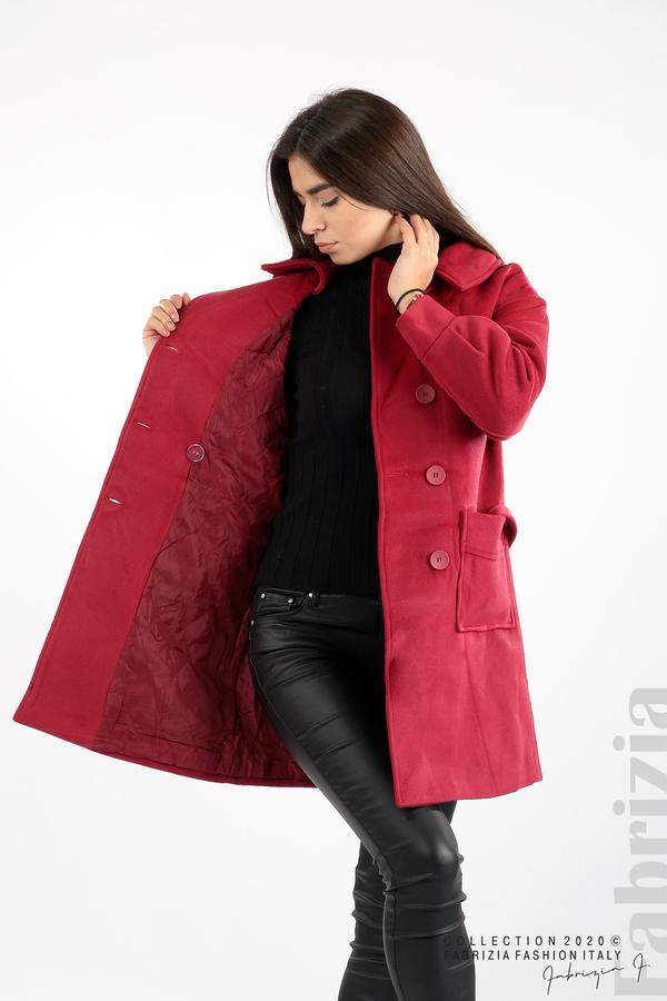 Късо палто с големи джобове и колан малина 5 fabrizia