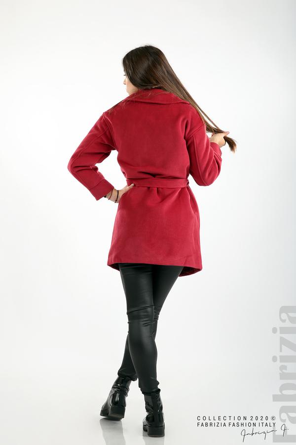 Късо палто с големи джобове и колан малина 7 fabrizia