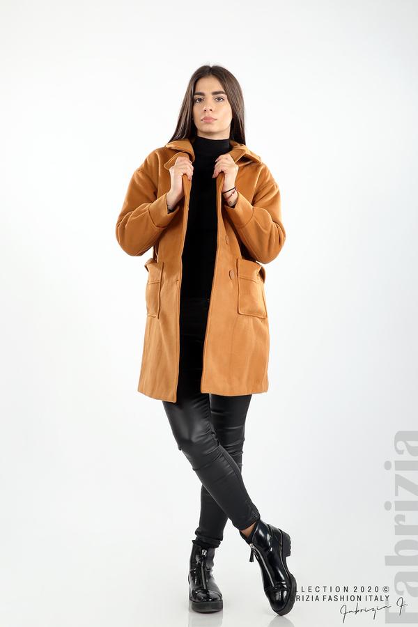 Късо палто с големи джобове и колан камел 3 fabrizia