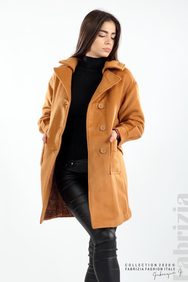 Късо палто с големи джобове и колан камел 4 fabrizia