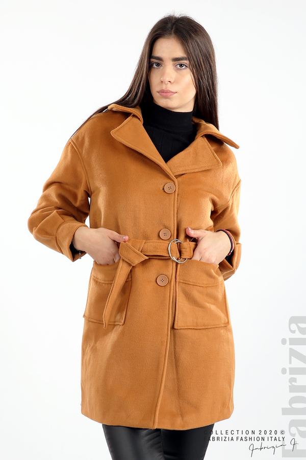 Късо палто с големи джобове и колан камел 1 fabrizia