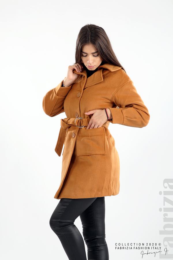 Късо палто с големи джобове и колан камел 5 fabrizia