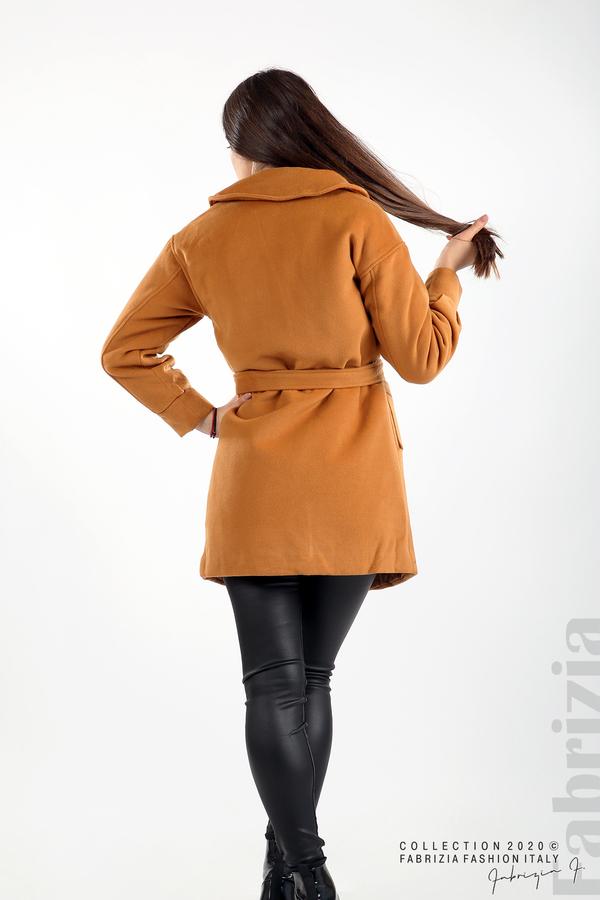 Късо палто с големи джобове и колан камел 6 fabrizia