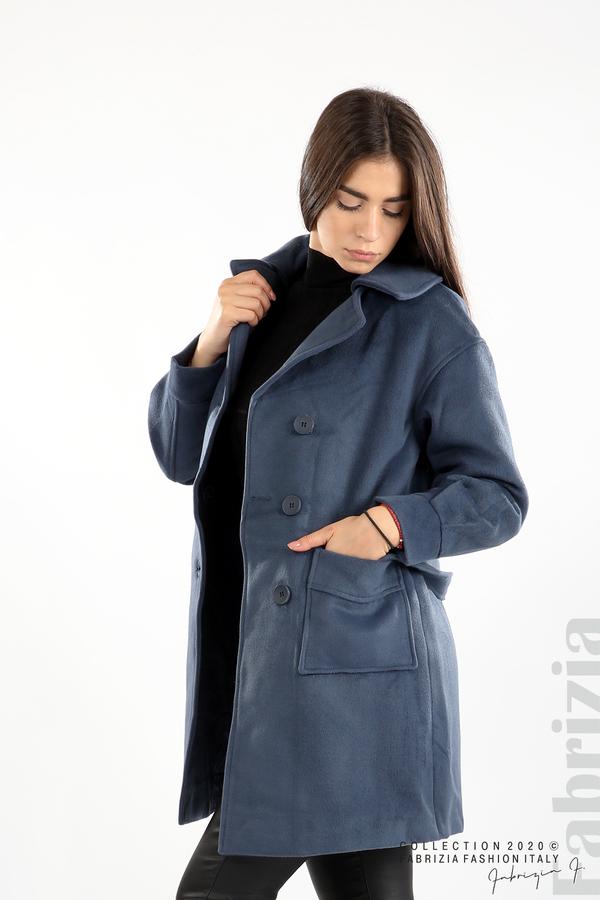 Късо палто с големи джобове и колан д.син 3 fabrizia