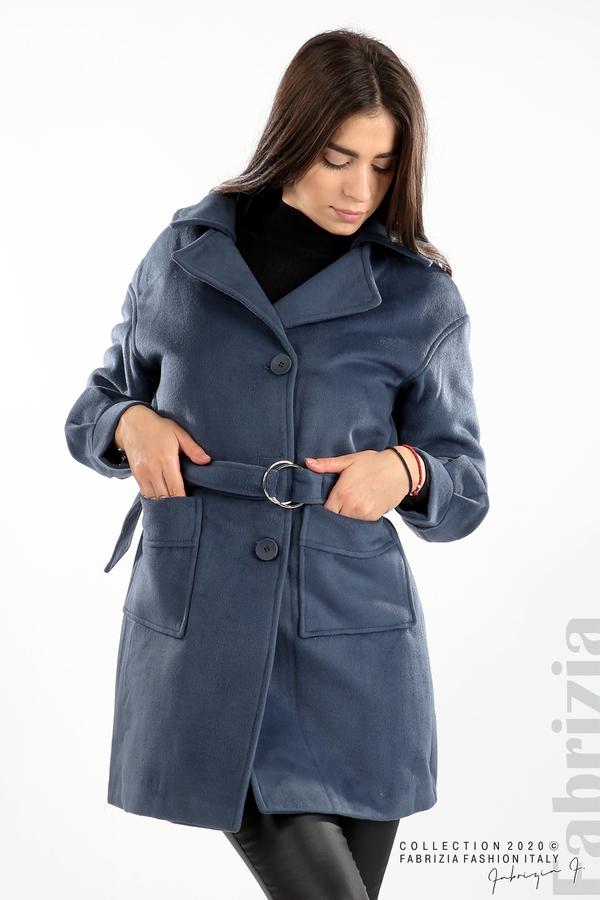 Късо палто с големи джобове и колан д.син 5 fabrizia