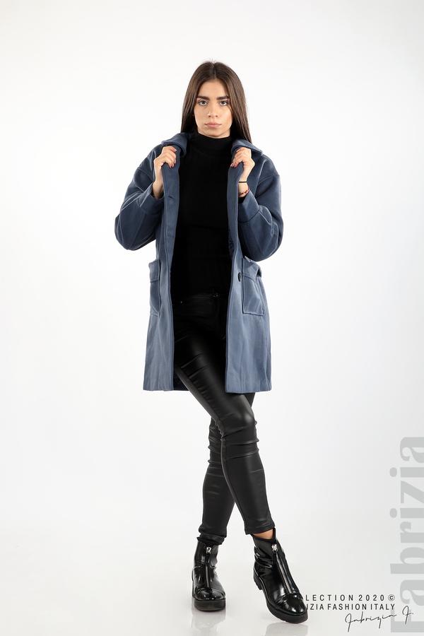 Късо палто с големи джобове и колан д.син 4 fabrizia