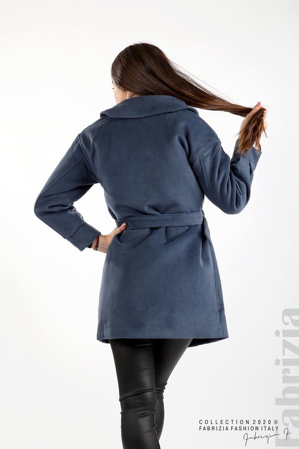 Късо палто с големи джобове и колан д.син 7 fabrizia