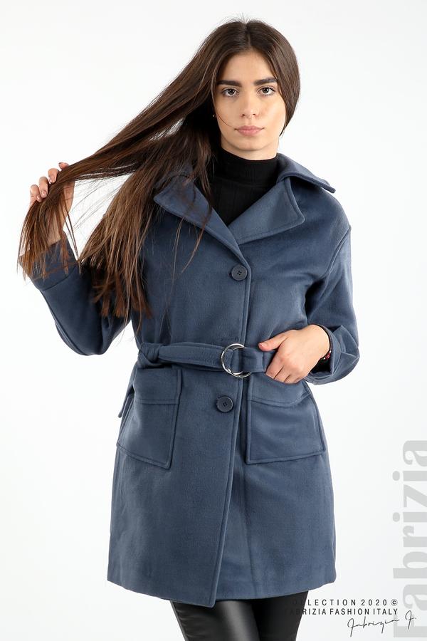 Късо палто с големи джобове и колан д.син 2 fabrizia