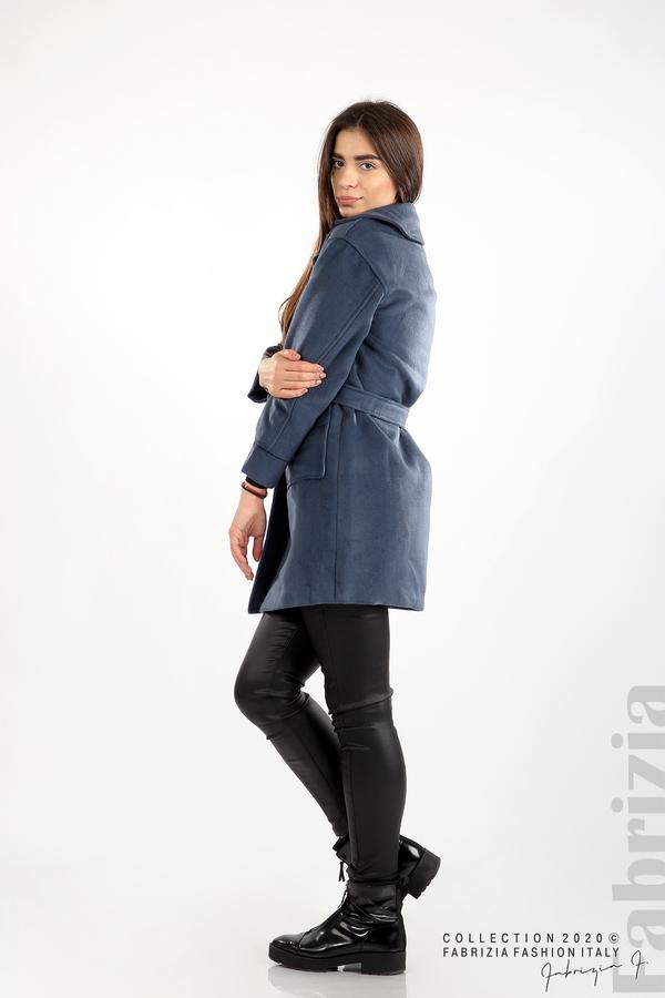 Късо палто с големи джобове и колан д.син 6 fabrizia