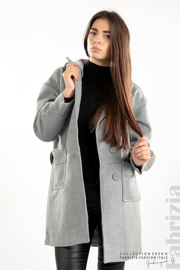 Късо палто с големи джобове и колан сив 2 fabrizia