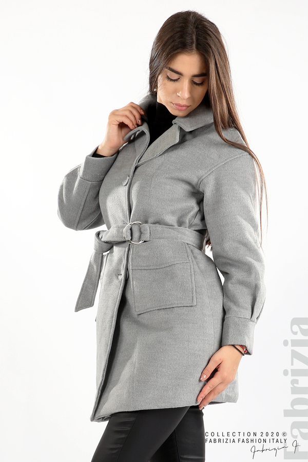 Късо палто с големи джобове и колан сив 4 fabrizia