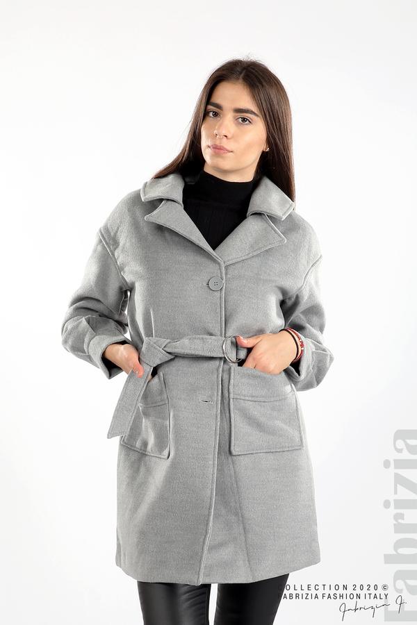 Късо палто с големи джобове и колан сив 1 fabrizia