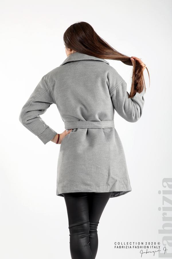 Късо палто с големи джобове и колан сив 7 fabrizia
