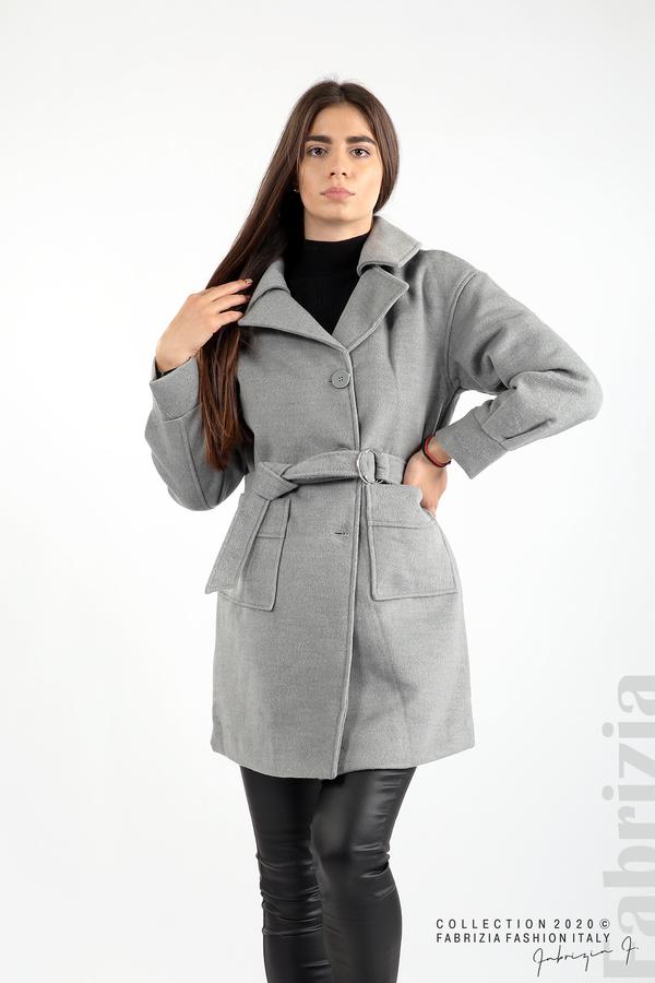 Късо палто с големи джобове и колан сив 5 fabrizia