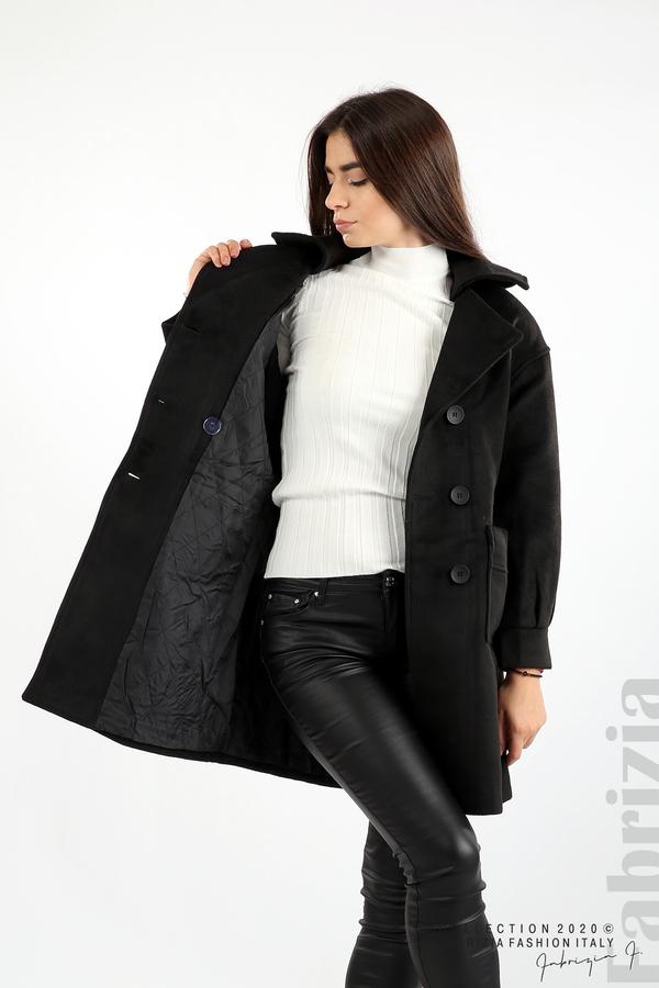 Късо палто с големи джобове и колан черен 3 fabrizia