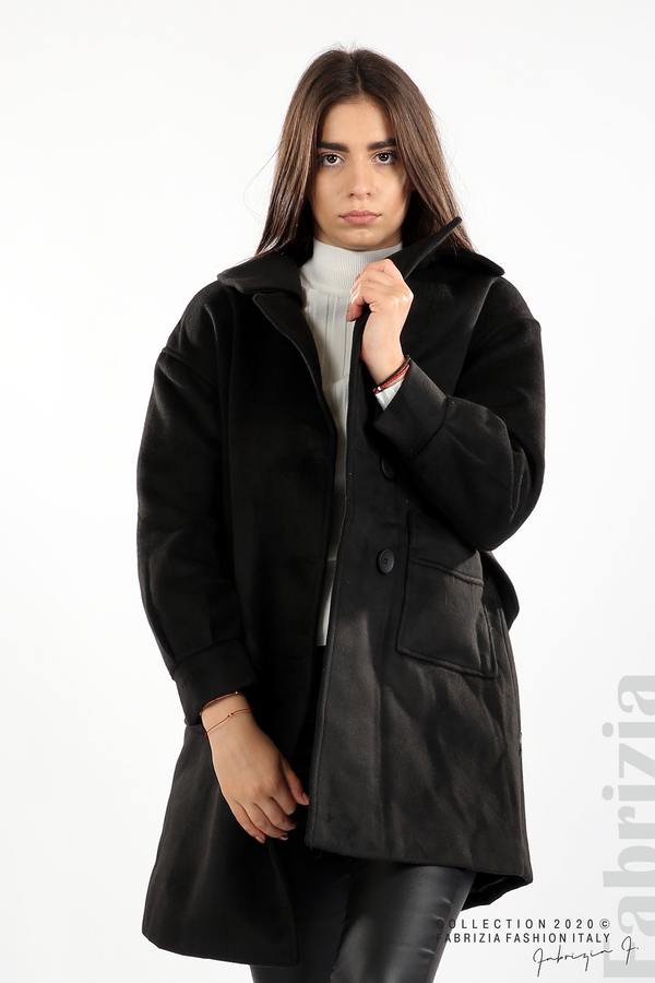 Късо палто с големи джобове и колан черен 2 fabrizia