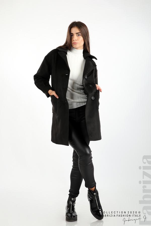 Късо палто с големи джобове и колан черен 4 fabrizia