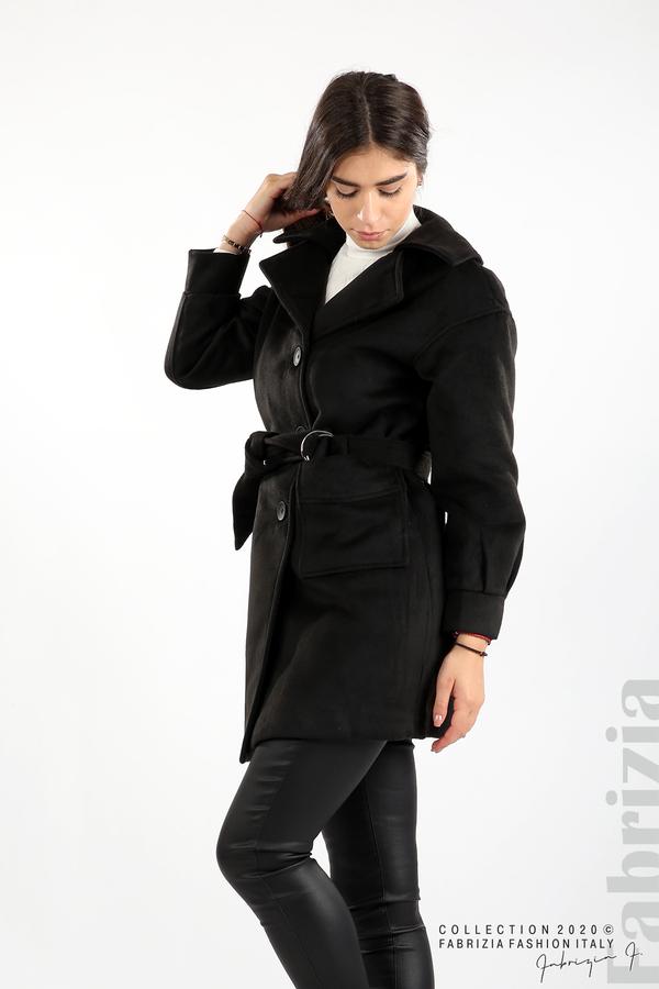 Късо палто с големи джобове и колан черен 5 fabrizia