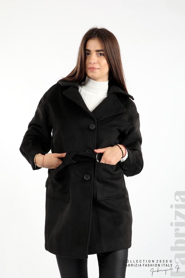 Късо палто с големи джобове и колан черен 1 fabrizia