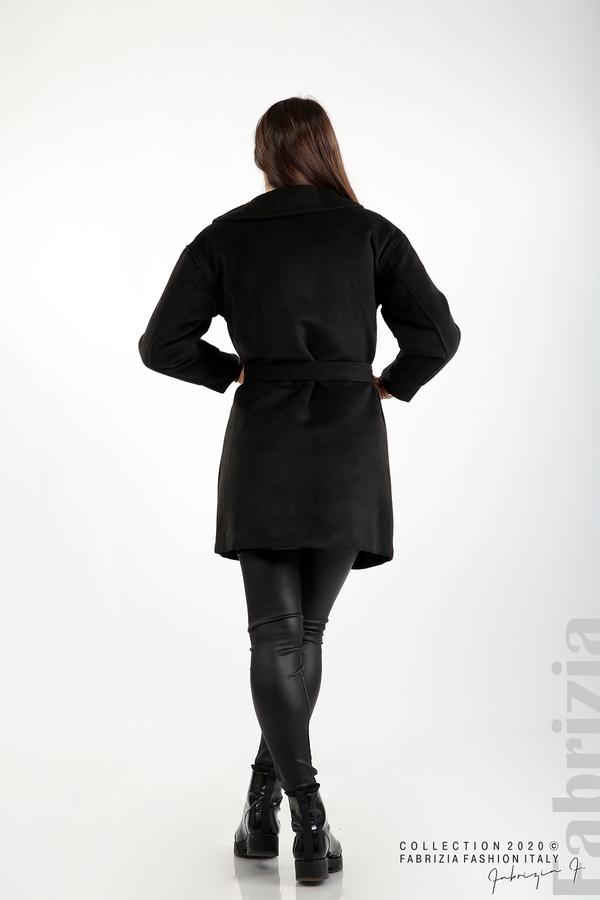 Късо палто с големи джобове и колан черен 6 fabrizia