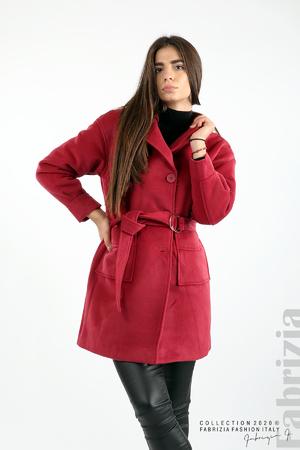 Късо палто с външни  джобове и колан