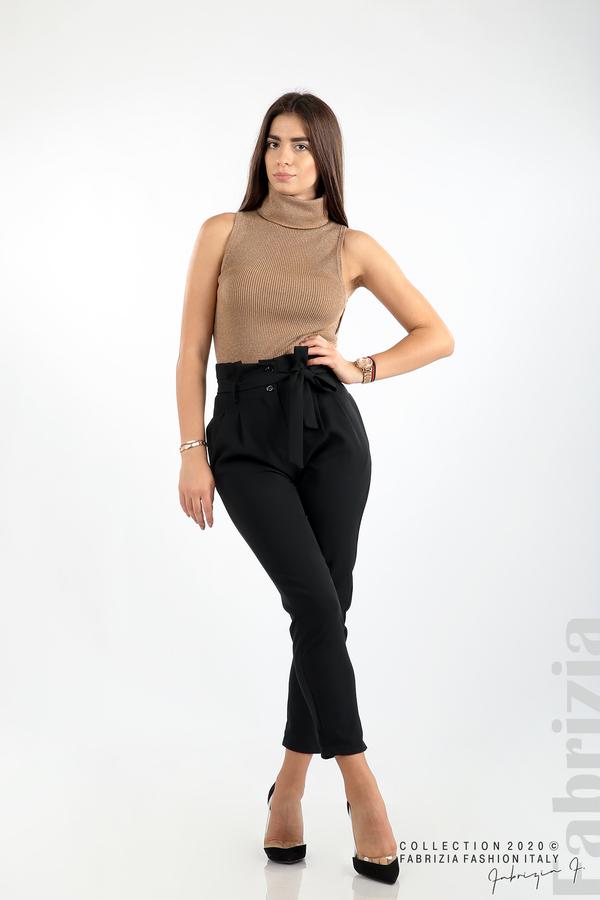 Елегантен панталон с акцент на талията черен 1 fabrizia