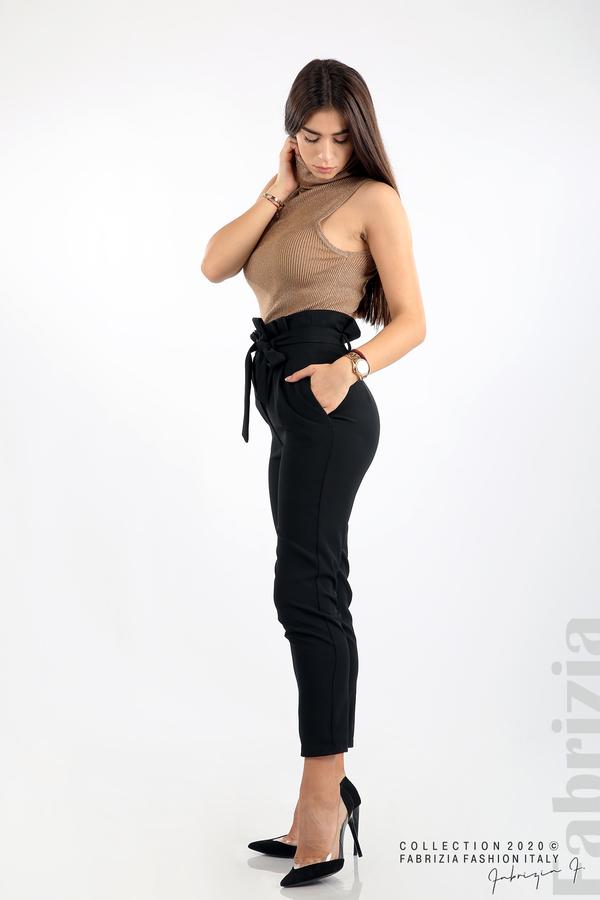 Елегантен панталон с акцент на талията черен 7 fabrizia