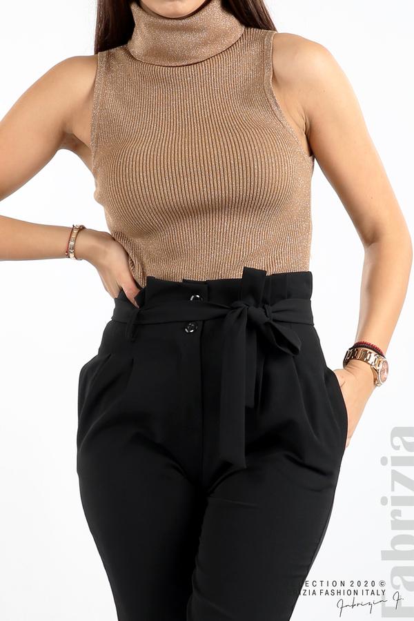 Елегантен панталон с акцент на талията черен 4 fabrizia