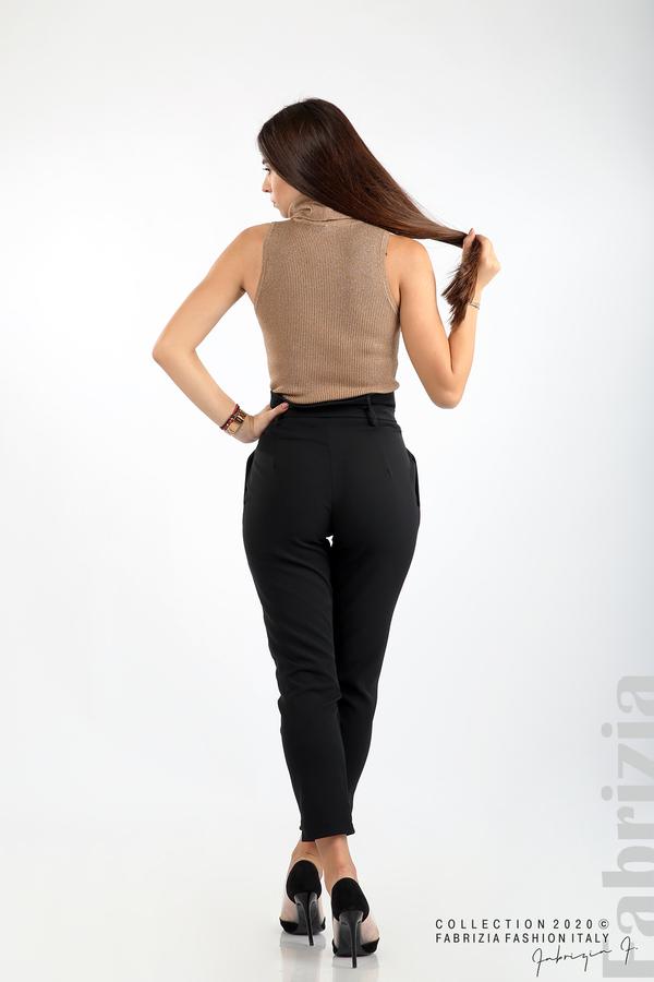 Елегантен панталон с акцент на талията черен 8 fabrizia