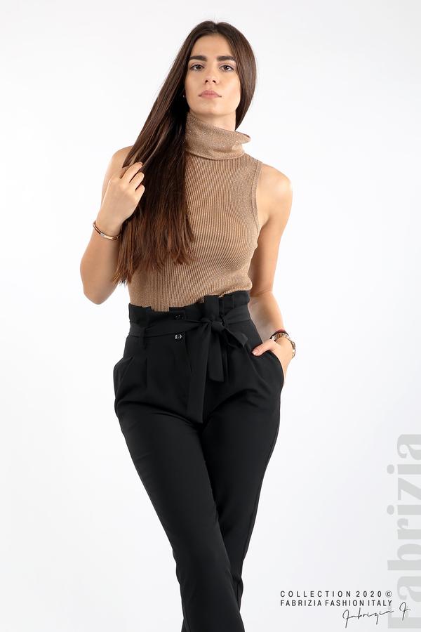 Елегантен панталон с акцент на талията черен 3 fabrizia