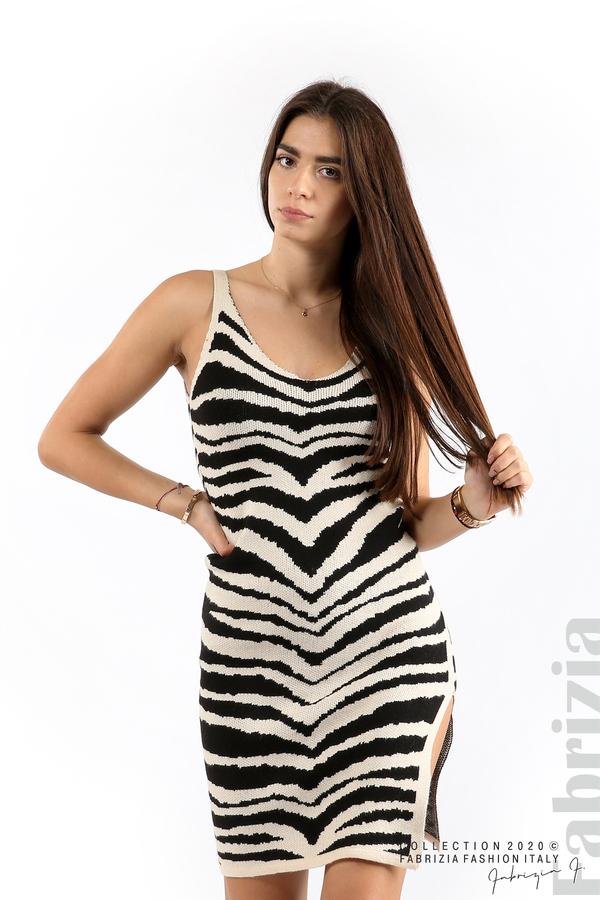Къса плетена рокля бежов 1 fabrizia