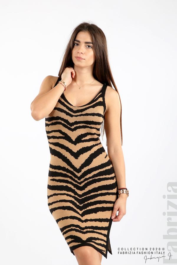Къса плетена рокля камел 1 fabrizia