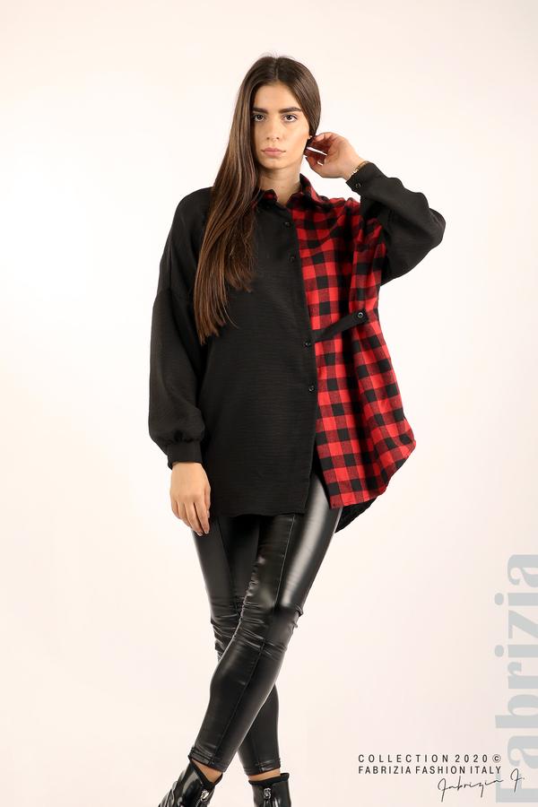 Дамска риза с карирана зона черен/червен 4 fabrizia