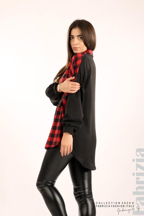 Дамска риза с карирана зона черен/червен 5 fabrizia