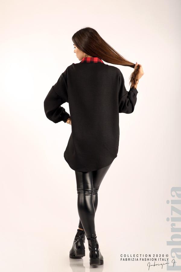 Дамска риза с карирана зона черен/червен 6 fabrizia