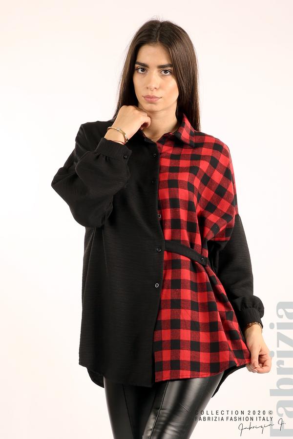 Дамска риза с карирана зона черен/червен 2 fabrizia
