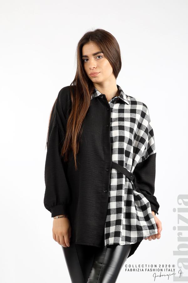Дамска риза с карирана зона черен/бял 4 fabrizia