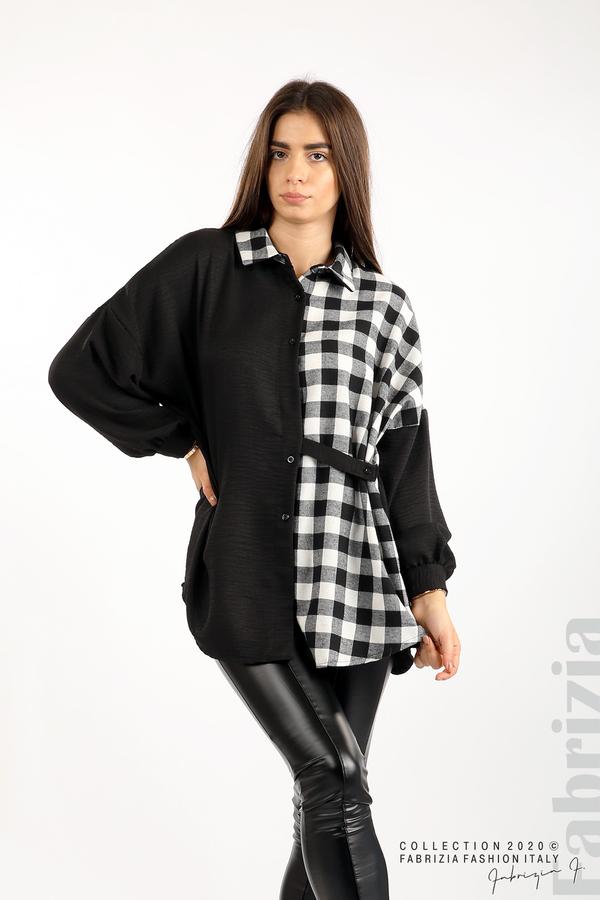 Дамска риза с карирана зона черен/бял 5 fabrizia