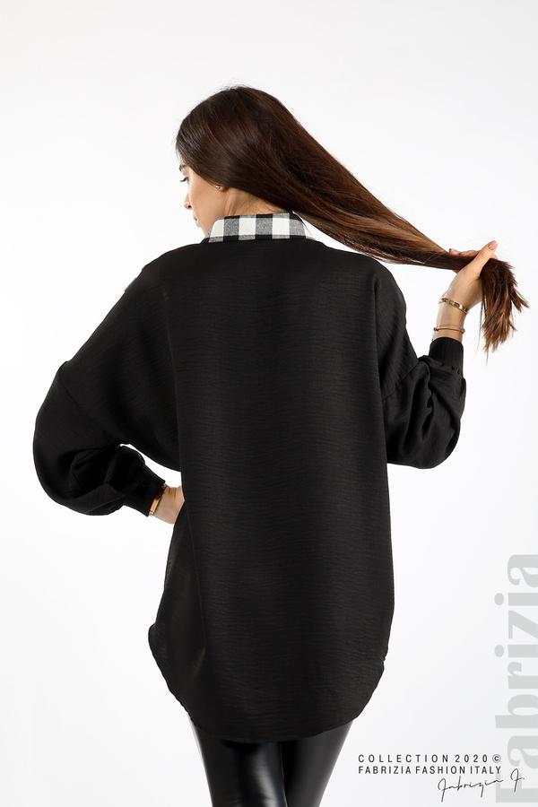 Дамска риза с карирана зона черен/бял 6 fabrizia