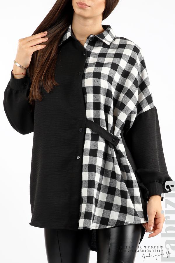 Дамска риза с карирана зона черен/бял 3 fabrizia